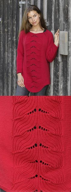 Knitting Patterns Pullover Free Knitting Pattern for a Lace Sweater Red Tulip Beginner Knitting Patterns, Lace Knitting Patterns, Knitting Patterns Free, Free Knitting, Free Pattern, Top Pattern, Sweater Patterns, Stitch Patterns, Crochet Gratis