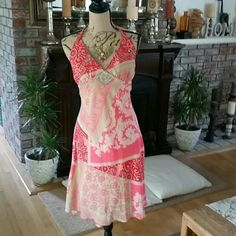 Vintage gorgeous paisley print summer dress. Cute halter high low summer dress.  Colorful paisley print.  Has silver beaded decoration right below the v neckline   My daughter wore it once.  So many beautiful colors this dress . Perfect condition! B. darlin Dresses High Low