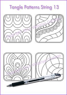 Strings for drawing Zentangle starter pages. Zentangle Drawings, Doodles Zentangles, Doodle Drawings, Easy Drawings, Doodle Designs, Doodle Patterns, Zentangle Patterns, Drawing For Beginners, Drawing Tips