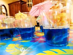 Beach party! blue jelly and gummy sharks.