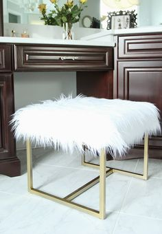 Good Faux Fur Vanity Stool Makeover For $35   I Love This!