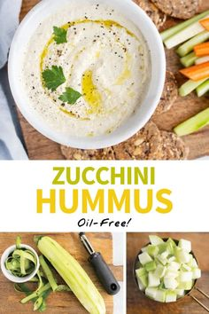 This ZUCCHINI HUMMUS is made without beans and NO added oil, so it's easier to digest, and tastes even better than the original! Paleo & Vegan. #paleo #oilfree