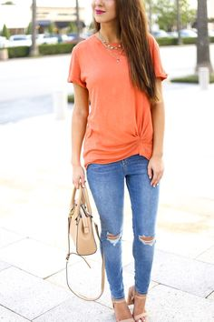 Orange Knotted Tee a