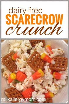Dairy-free fall trail mix or scarecrow crunch as it's called in these parts. See post for exact ingredient brands.