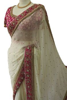 Stunning Chiffon Off White saree with rich border and brocade embroidered Blouse - Fancy Sarees Party Wear, Georgette Saree Party Wear, Saree Designs Party Wear, Chiffon Saree, Saree Blouse Neck Designs, Fancy Blouse Designs, Saree Blouse Patterns, Trendy Sarees, Stylish Sarees