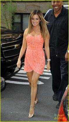 Ashley Tisdale neon coral dress