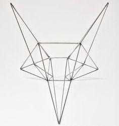 Wild Fox Steel Head Sculpture
