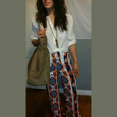 💖HOST PICK 💖Aztec Pants Aztec printed wide leg pants with pockets...elastic waist. Super cute and can be styled so many ways for different occasions. Is made of breezy poly but has a short lining! Cals Pants