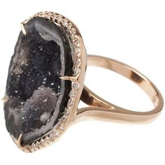 KIMBERLY MCDONALD 18K rose gold and diamond geode ring ($6,950) ❤ liked on Polyvore