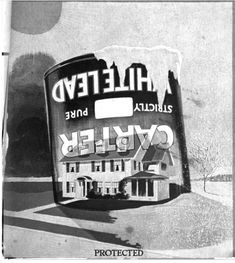 """This 1915 Carter White Lead shows a paint can covering a house with the word """"Protected"""" underneath."""