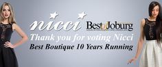 We are so excited! THANK YOU for voting for #Nicci #BestofJoburg #2015 #BestBoutique