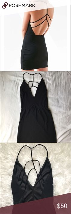Urban outfitters deep v strappy bodycon dress Timeless little black dress! Has only been worn once, in brand new condition. silence + noise Dresses Mini