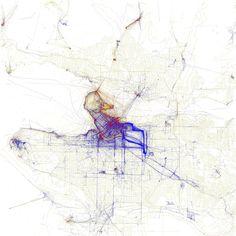 Eric Fischer - Cartes de villes par photographies de touristes ou d'habitants