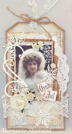 I have made a double tag card in light blue with lots of details. The papers are from the collection Silent Night, and the beautiful vintage picture is from the collection From Grandma's Attic ~ tinted.Wish you all a lovely day,Marianne.Pion products:Silent Night – Guardian angels…