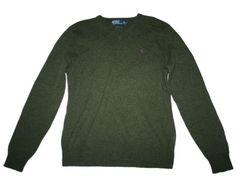 Men Polo Ralph Lauren Green Wool V Neck Sweater Size M #PolobyRalphLauren #VNeck