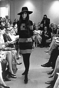 d222ac2c301 Marisa Berenson models hat and shift dress from Halston s first ready-to-wear  collection.