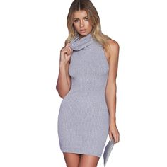 3d5b399a1deac Smoves Women Classic Grey Marled Ribbed Sleeveless Turtleneck Cozy Knit  Sweater Dress New Autumn Dresses GD360-in Dresses from Women s Clothing ...