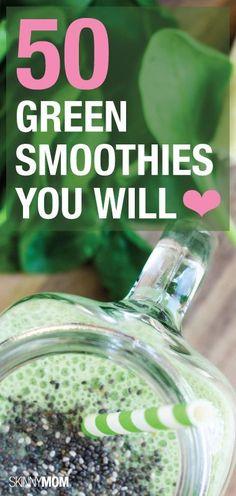 50 healthy green smoothie recipes! via @debbieshue
