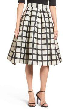 Eliza J Windowpane Metallic Jacquard Midi Skirt