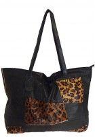 Dorine Pelletier -- Women's X - Large Black Lambskin Leather Tote with Leopard Skin Pattern $92.95