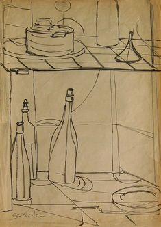 E. Besozzi pitt. 1952 Natura morta pennarello su velina cm. 32x23 arc. 319
