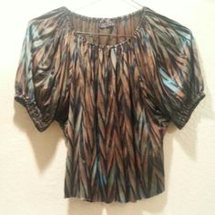 Brown and Blue Zebra Stripe Top It's silky and never been worn. Tops