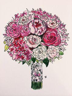 Custom Bouquet Painting - Sarah Park Designs Etsy Shop