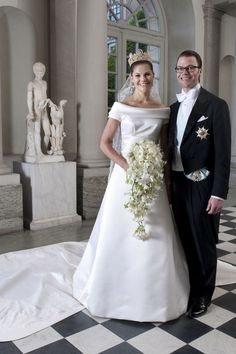Crown Princess Victoria of Sweden (in Par Engsheden) and Prince Daniel in July 2010. From Princess Diana to Queen Letizia, take a look back at the evolution of royal bridal looks.