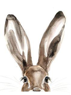 Peekaboo Bunny Watercolor PRINT original watercolor print on card stock Watercolor Animals, Watercolor Print, Watercolour Painting, Painting & Drawing, Watercolor Ideas, Colour Drawing, Painting Process, Watercolor Design, Painting Abstract