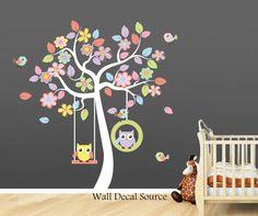 Nursery Wall Decal - Owl Wall Decal - Baby - Vinyl Sticker. $99.00, via Etsy.
