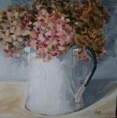 """""""Hydrangeas in jug"""" - Original Fine Art for Sale - © Penny German"""