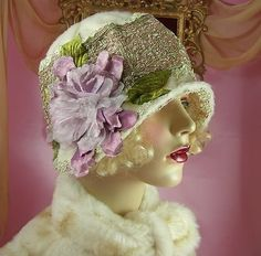 1920's vintage style off white embroidered beaded floral Cloche flapper hat. by Janny Dangerous      1