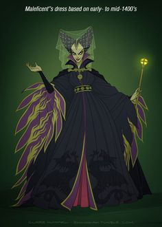 Maleficent Disney Princess' dresses in accurate period styles - by Claire Hummel