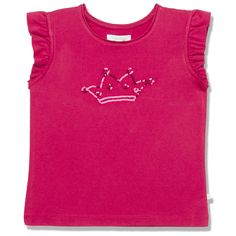 This playful tee in a delicious raspberry colour features our signature crown motif in sequins and pretty flutter sleeves. Pair with our black jeans for a statement look. Our clothing is cut small, we recommend you choose the next size up. Made from 100% cotton. Available in sizes 3Y - 12Y.