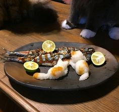 "Apply a bit of grilled fish! ""Cat grated"" that is perfect for the autumn of art is too cute! Baby Food Recipes, Gourmet Recipes, Shellfish Recipes, Food Garnishes, Fusion Food, Orange Recipes, Fish Dishes, Food Humor, Cute Food"