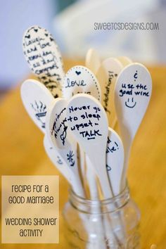 Such a great idea- have guests at a wedding shower write advice to a couple on spoons. The couple can keep long after the wedding as a lovely reminder of the friends who love and support them!  #wedding #weddingshower