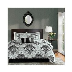 Charlize 7 Piece Comforter Set with Flocking ($140) ❤ liked on Polyvore featuring home, bed & bath, bedding, comforters, grey bedding sets, floral bedding, gray bedding sets, grey floral bedding and 7 pc bedding set