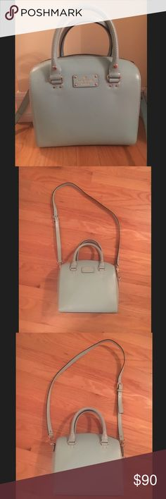 Kate Spade Cameron Street Large Lane in light blue Barley used Cameron Street Large Lane bag. Color is a light/Tiffany blue. Comes with detachable shoulder strap. Used a couple of times but still in great condition. Has a couple of scratches and marks that are shown in photos. Purchased at a Kate Spade outlet. kate spade Bags Satchels