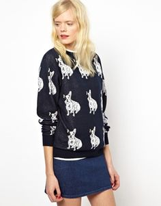 Image 1 of Peter Jensen French Bulldog Intarsia Jumper Jumper, Sweater Shirt, Peter Jensen, All Fashion, Womens Fashion, Blue Peter, Cool Style, My Style, Get Dressed