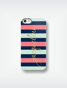 Personalized Mint and Coral Striped iPhone 5 Case 4 / 4S or 3G or Samsung - Mint Green Navy Coral Gold Sparkle