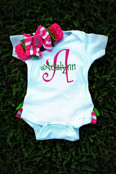 NewRuffle Bottom Monogrammed Onsie by charminglanedesigns on Etsy, i love green and pink....too cute!