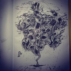#inkart #thoughs #sadness #clouds #monster #traditional #sketchbook
