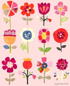 """""""Where flowers bloom so does hope""""- Lady Bird Johnson. These pretty pink flowers bloom year round. A lovely addition to any space! This is a limited edition print of only Plant Illustration, Cute Illustration, Flower Patterns, Print Patterns, Paper Art, Paper Crafts, Arte Floral, Flower Art, Art For Kids"""