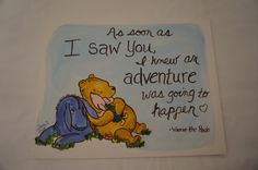 """Classic Winnie the Pooh, Piglet, Eeyore, friends hand painted canvas """"As soon as I saw you, adventure by MoonbeamsBearDreams on Etsy"""
