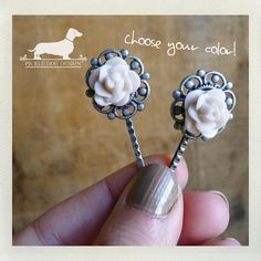 Romantic Rosebud. Flower Hairpins Set of 2  by PickleDogDesign