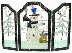 stained glass christmas | Snowman Stained Glass Inspired Christmas Fireplace Screen From The ...