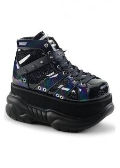 ca0819d1565 Demonia Neptune 100 Black Glitter Platform Boot