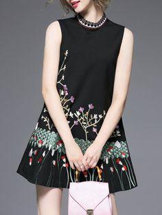 Shop Mini Dresses - Black Viscose Elegant Embroidered Mini Dress online. Discover unique designers fashion at StyleWe.com.