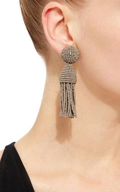 Mink Short Tassel Bead Earrings by OSCAR DE LA RENTA Now Available on Moda Operandi