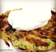 We're All About Gourmet Zucchini Fritters, Camembert Cheese, Mashed Potatoes, Fresh, Breakfast, Ethnic Recipes, Food, Gourmet, Morning Coffee